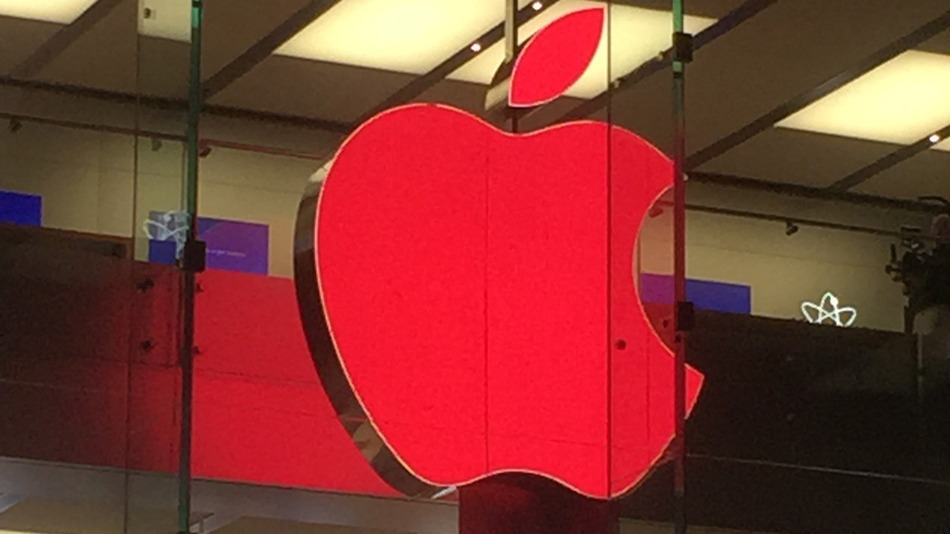 Apple with red logo