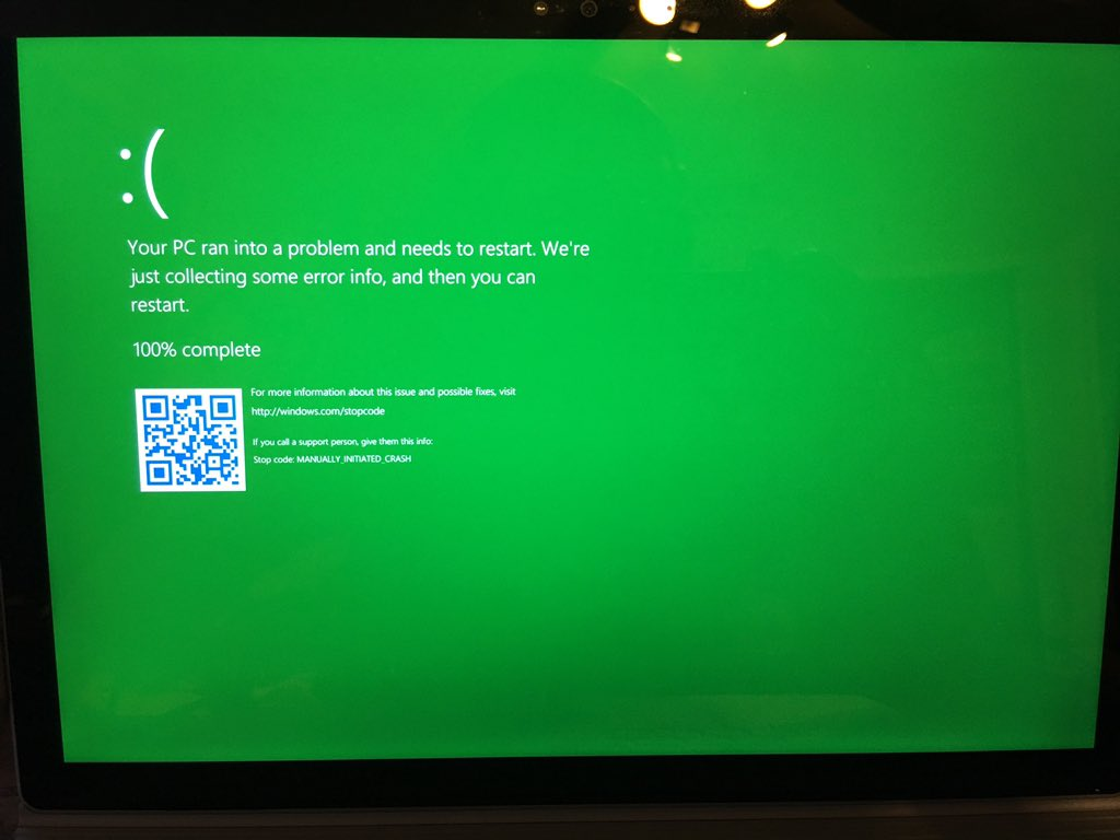 Microsoft Green Screen of Death is a Thing Now (GSOD)